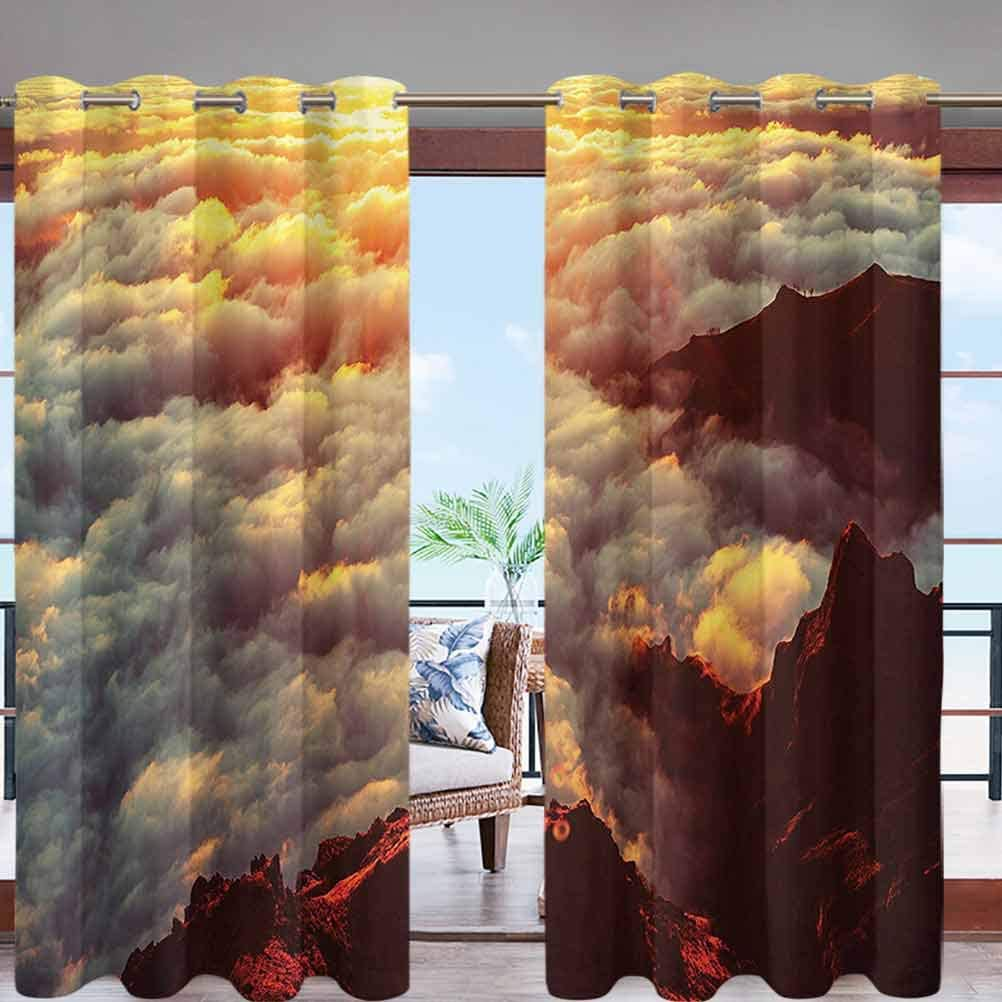 Outdoor Curtains Waterproof, Privacy, Sun Blocking Textured Sunset on The Hill Tops W96 x L96 Grommet Curtains for Patio, Pergola, Porch, Deck