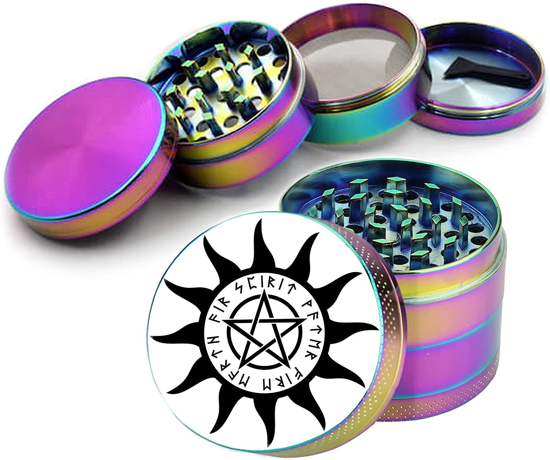Rainbow Grinder Magical Wiccan Pentagram Spice Grinder Kitchen Accessory