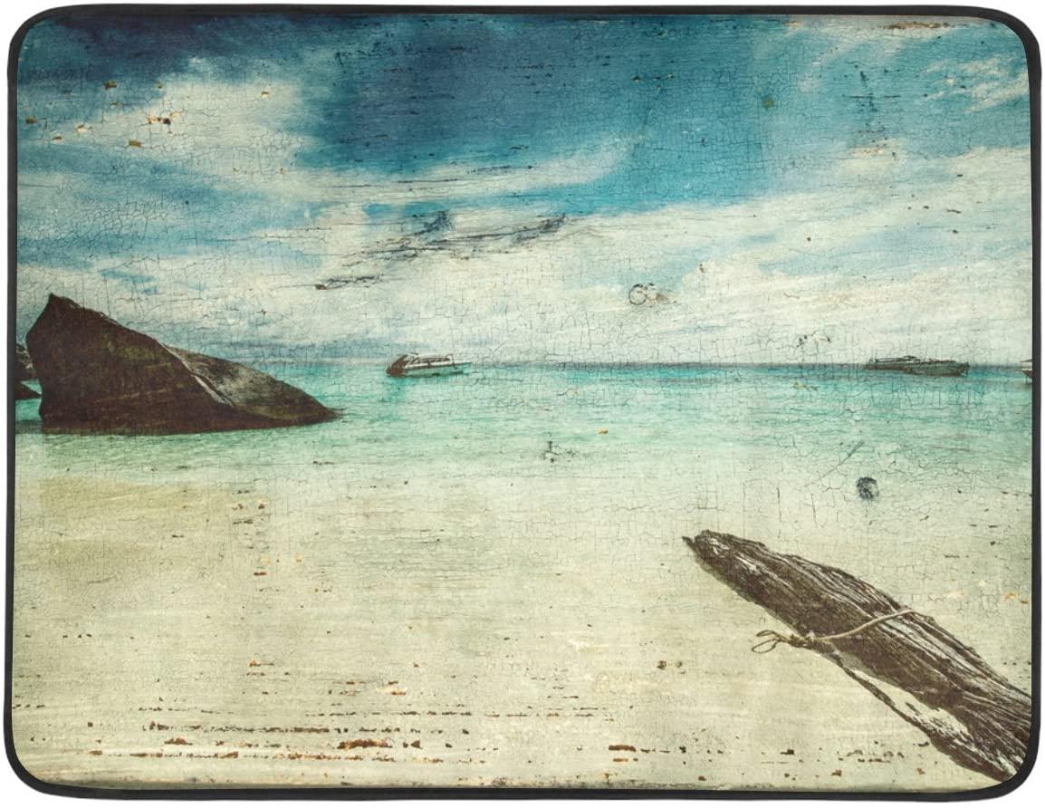 InterestPrint Beach Blanket Mat Beautiful Beach Sea Blue