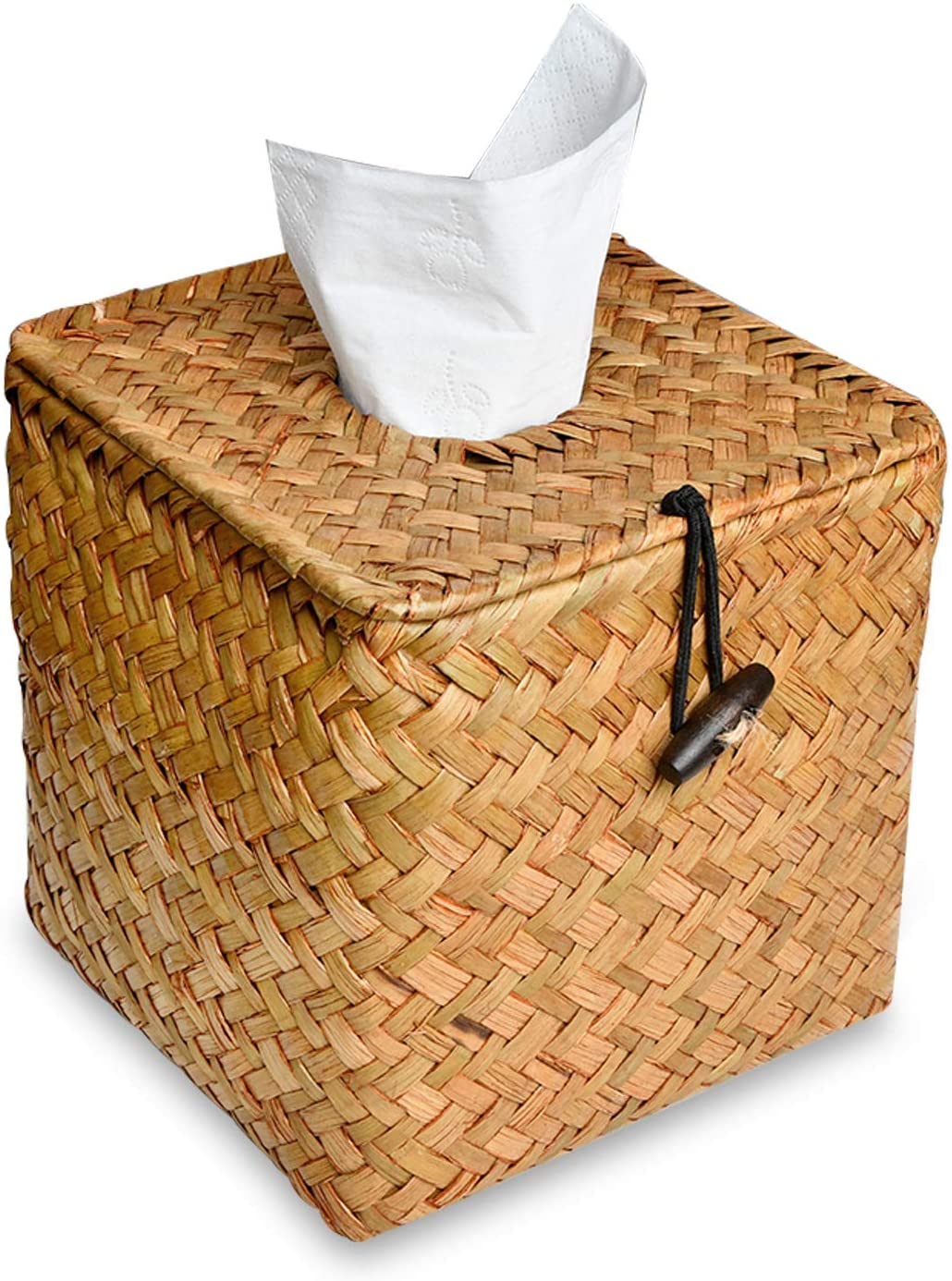 Supkiir Tissue Box Cover, Square Woven Decorative Facial Tissue Holder Pumping Paper Case Dispenser for Home Office Car