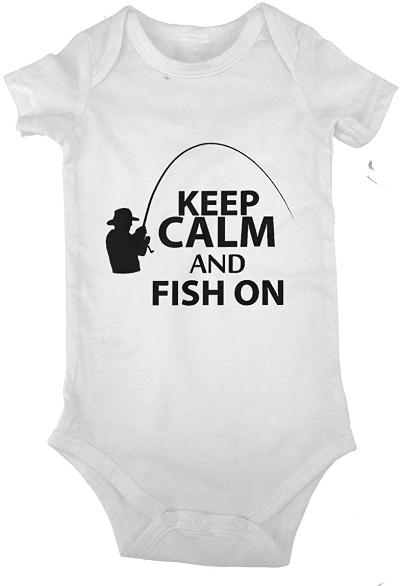 Keep Calm and Fish On. Cotton Baby Short Sleeve Bodysuits Jersey Rompers