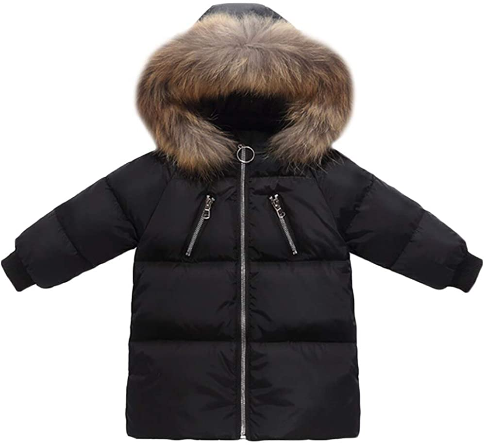 Achiyi Baby Kids Boys Girls Mid-Long Down Jacket Winter Jacket Hooded Thickened Warm Snowsuit Coat Parka Fashion Outerwear