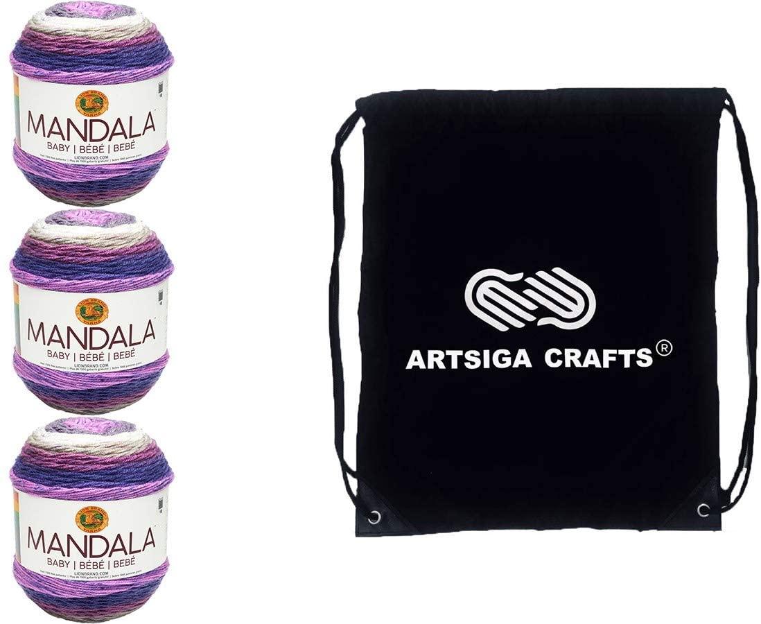 Lion Brand Knitting Yarn Mandala Baby Magic Moon 3-Skein Factory Pack (Same Dye Lot) 526-210 Bundle with 1 Artsiga Crafts Project Bag