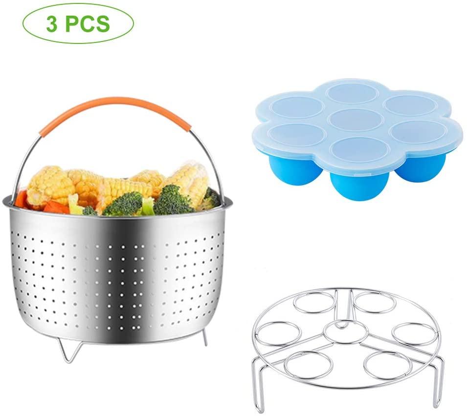 E-Gtong 3-PCS Pressure Cooker Accessories Set Compatible for Instant Pot 5,6,8 QT, 5-pcs Included Stainless Steel Steamer Basket, Egg Bites Molds, Egg Steamer Rack