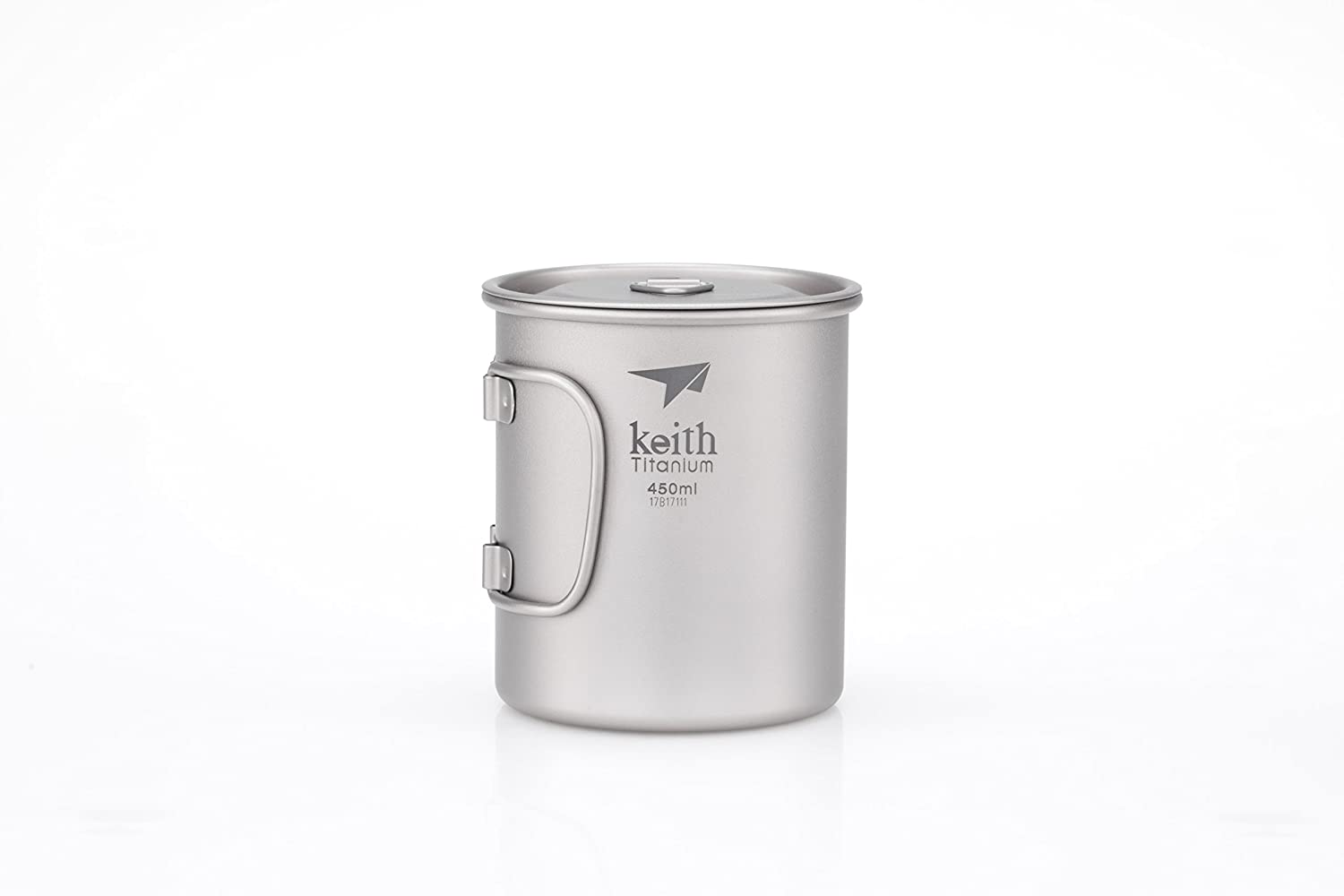 Keith Titanium Ti3204 Single-Wall Mug with Folding Handle and Lid - 15.2 fl oz