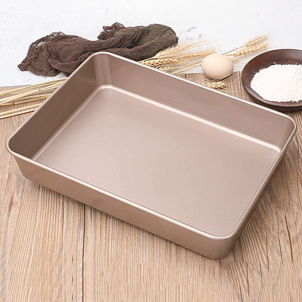 Chenteshangmao European Pure Color Baking Pan, Gold Square To Deepen Non-stick Edge High Temperature Oven Baking Pan, Used For Barbecue, Bread, Cake Rolls, Biscuits, Etc. Bake shop use