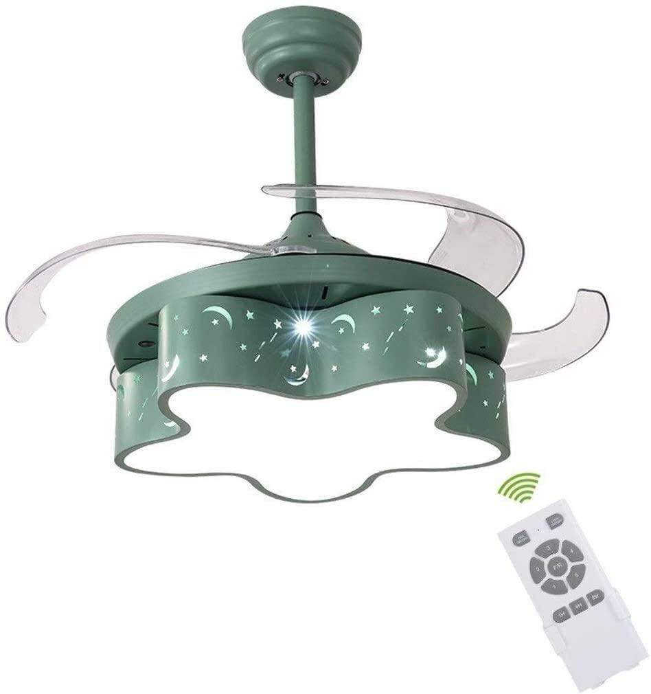 KDLW Bedroom Ceiling Lighting Fan Light Chandelier Fan, Childrens Room Restaurant Ceiling Light Girl Princess Room Childrens Fan Chandelier Size : 107 40cm 0813 (Color : Green)