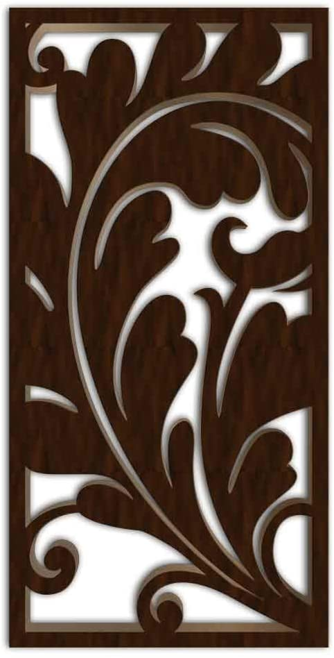 NISH! Decorative Carved MDF Wood Wall Panels for Room Partition, Screen, Divider, Door, Ceiling, Window #011-03 (MDF 12mm Thick, 3ft x 6ft, Walnut - One Side Painted, 1 pc)