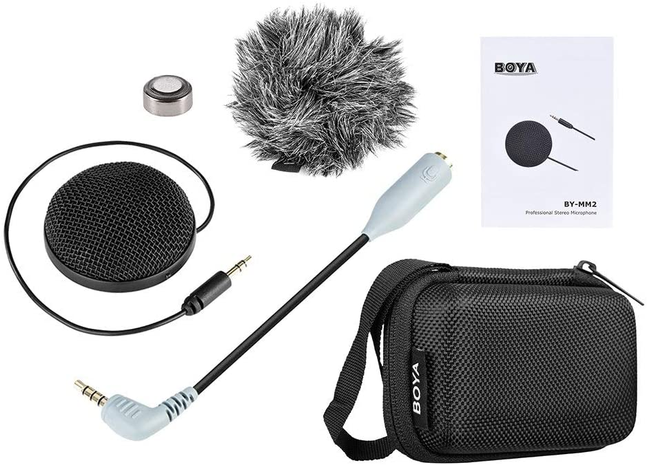 YUEBAJUN Mic by-MM2 Omnidirectional Condenser Stereo Table Top Conference Mic Microphone for iPhone X 8 8 Plus, iPad Canon Nikon Sony DSLR Camera