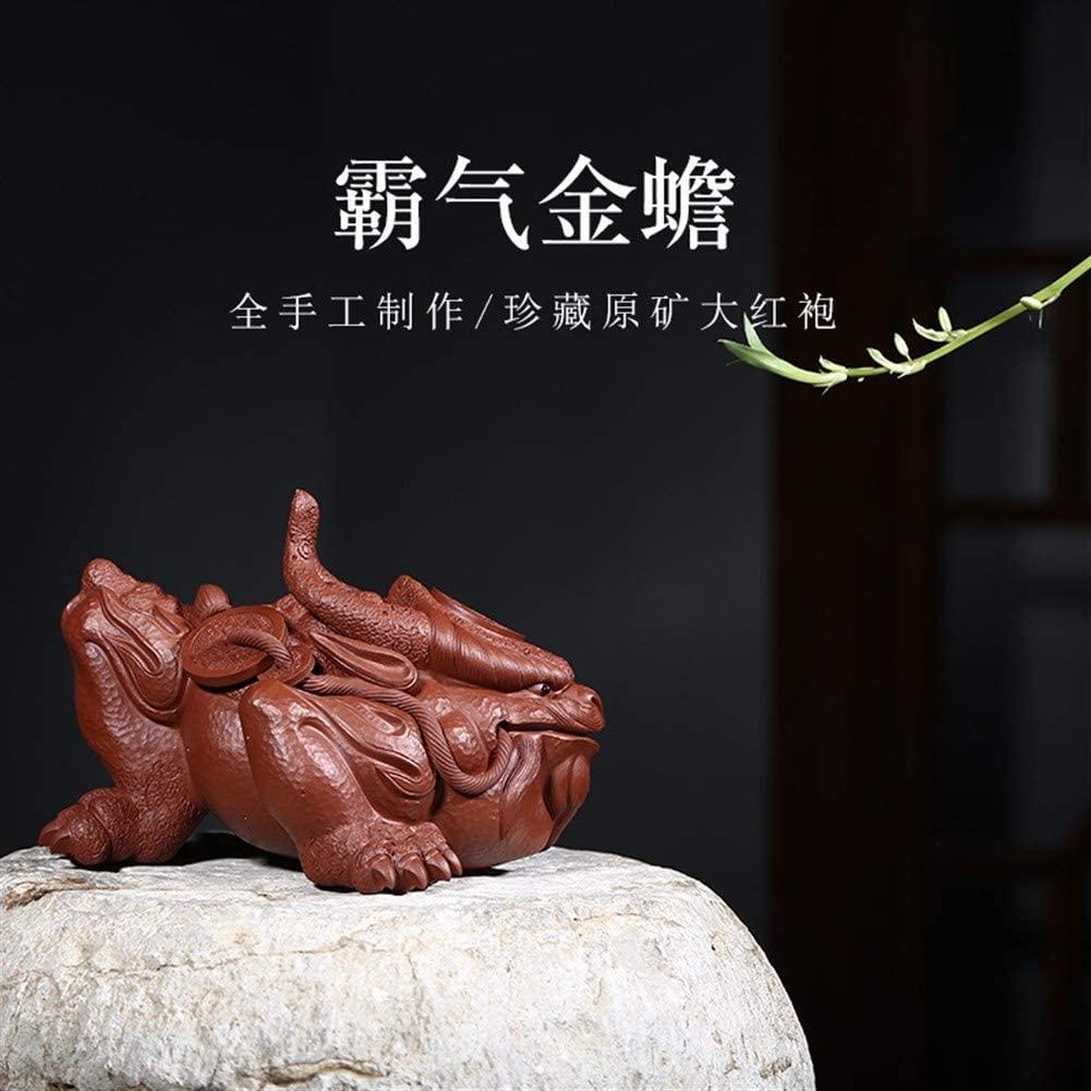 SHENLIJUAN Arts and crafts boutique tea pet ornaments play tea domineering dragon toad (Size : Tracing gold)