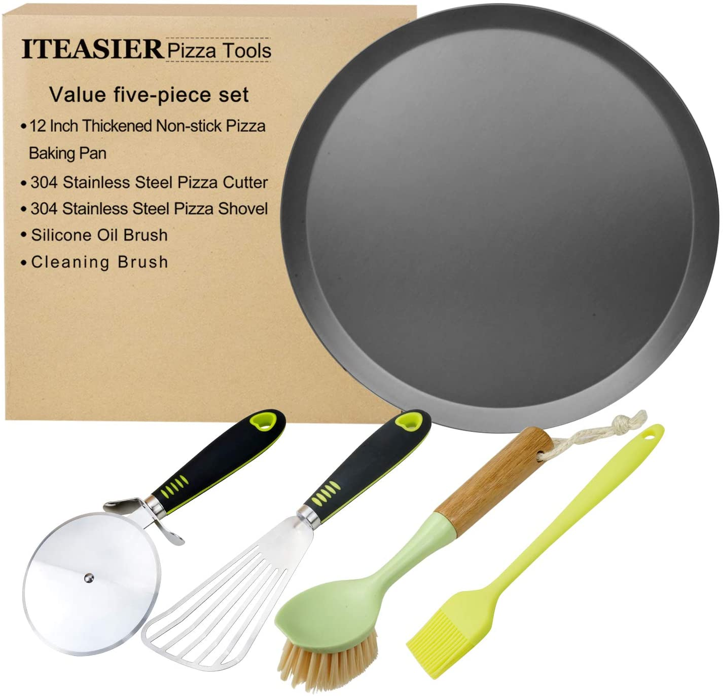 ITEASIER Good Pizza Making Toolkit,12 Inch Thickened Non-stick Pizza Baking Pan,Pizza Cutter,Pizza Shovel, Oil Brush,Cleaning Brush
