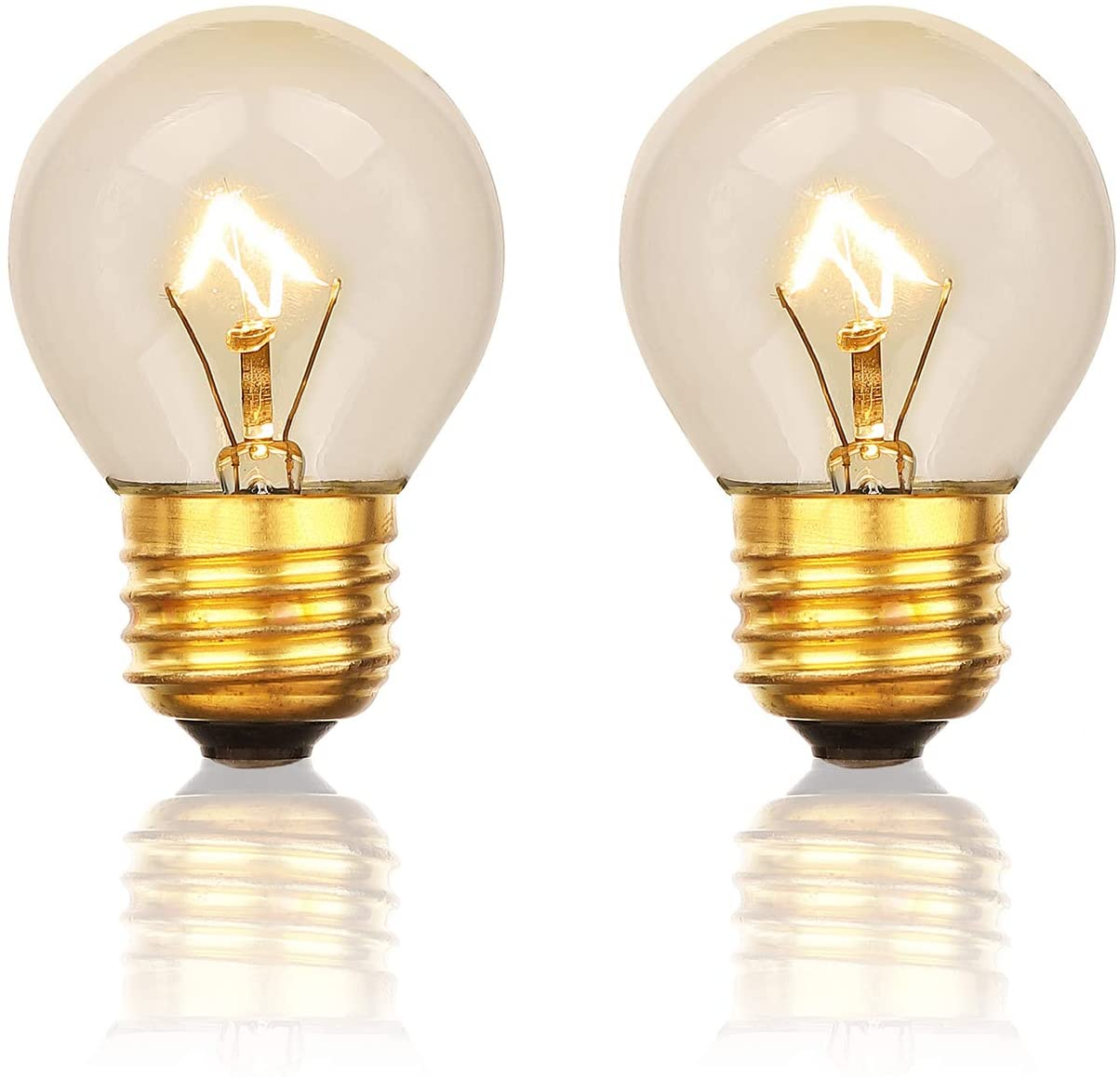 Oven Bulb, 40 Watt Appliance Bulb, Medium Brass Base E27(E26), High Temp Resistant, G45 120V Clear Glass, 2 Packs