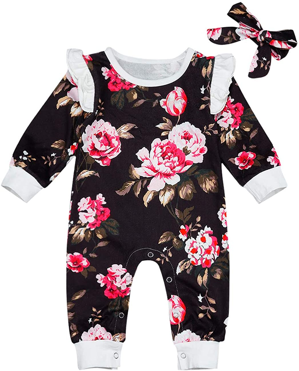 bilison Newborn Baby Girls Clothes Flavor Print Ruffled Long Sleeve Romper Jumpsuit Fall Outfits