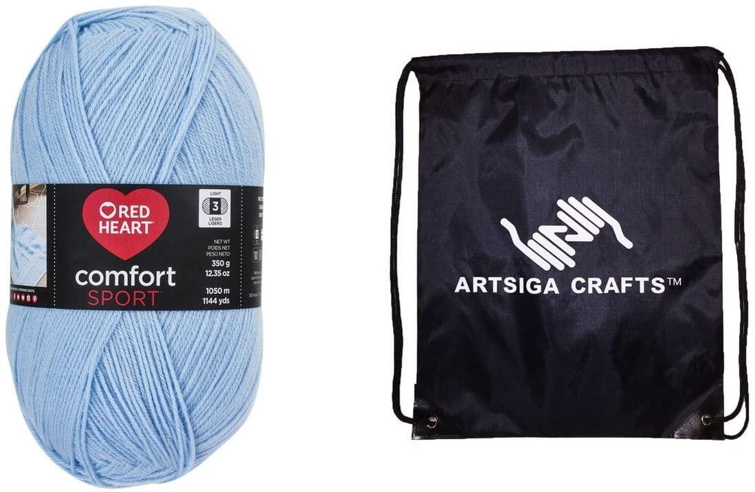 Red Heart Knitting Yarn Comfort Sport Light Blue 1-Skein Factory Pack (Same Dyelot) N399-4317 Bundle with 1 Artsiga Crafts Project Bag
