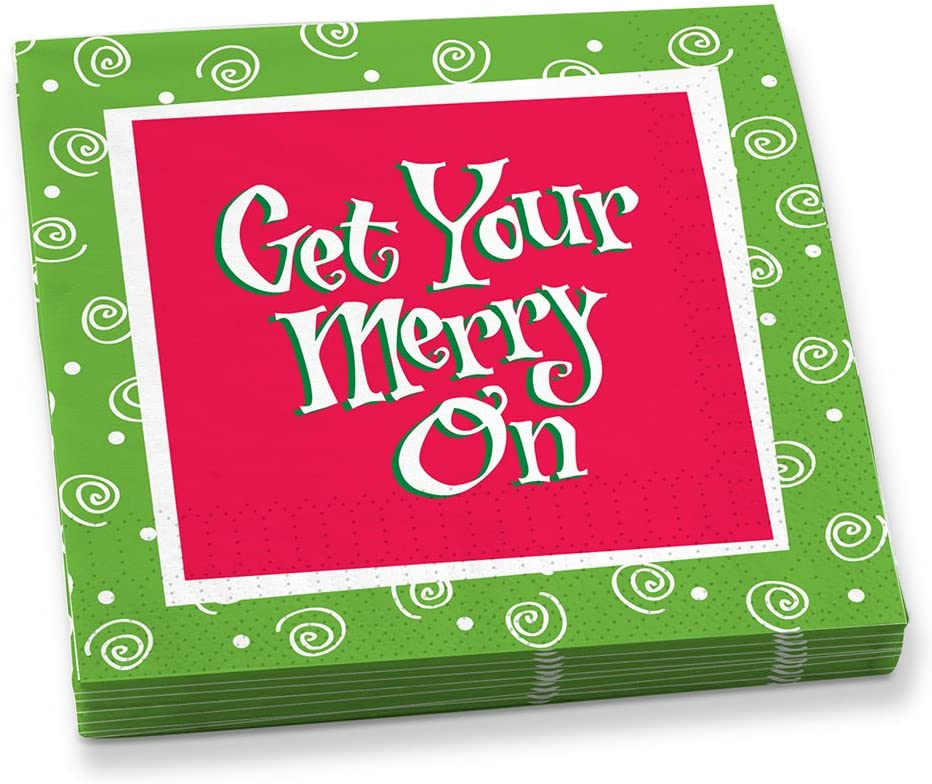 Epic Products Get Your Merry on Beverage Napkins (20 Pack), Multicolor