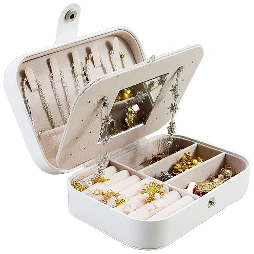 Jewelry Box Organizer Holder for Cufflinks, Rings, Necklace Earring,Pendants,Travel Jewelry Organizer with Mini Mirror Jewelry Box for Women Girls