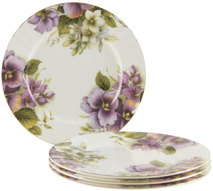 Gracie Bone China 7-1/2-Inch Dessert Plate, Purple Pansy, Set of 4