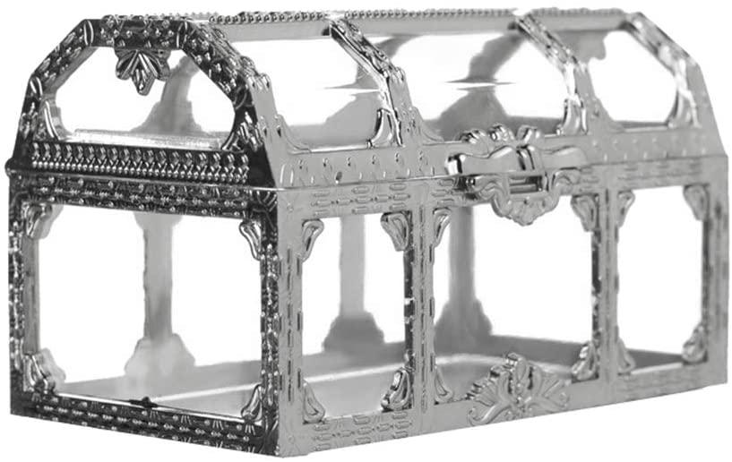Opla3ofx Plastic Treasure Box Candy Gift Jewelry Organizer DIY Trinket Storage Container Golden M