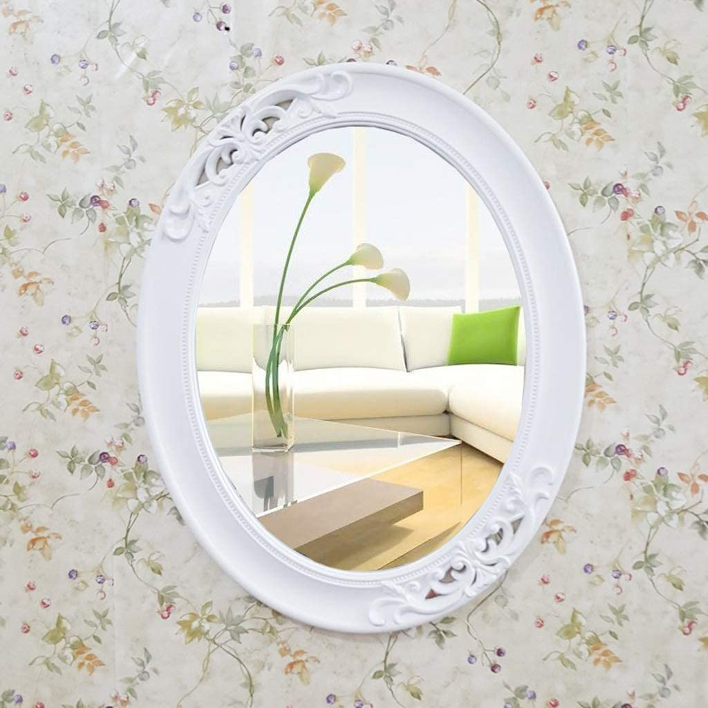 RXY-mirror North European Living Room Bedroom Wall Mounted Vanity Mirror, Simple Makeup Mirror (Color : White, Size : 57x45cm)