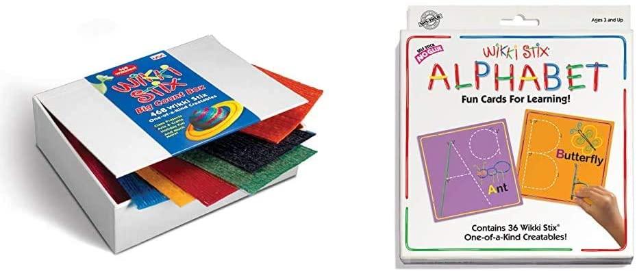 WikkiStix WKX805 Big Count Box of 468, Yarn/Food Grade Wax & Alphabet Cards Set