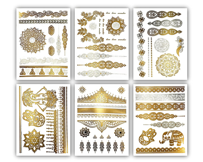 Terra Tattoos Temporary Henna Metallic Tattoos - Over 75 Mandala Tattoos (Gold)