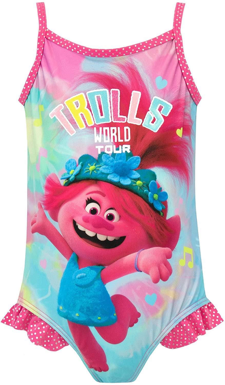 Trolls Girls' Poppy Swimsuit Multicoloured Size 7
