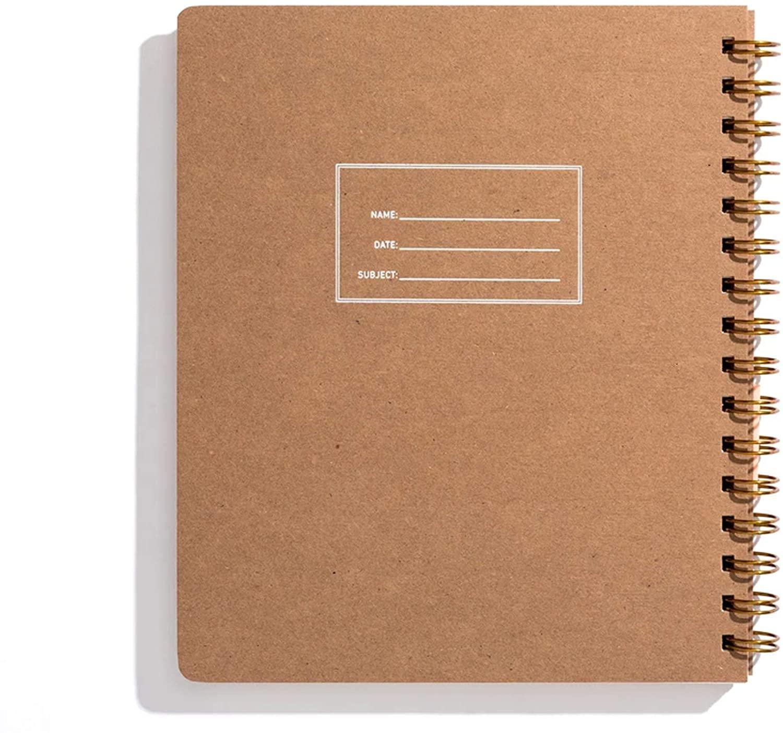 Minimalist Left-Handed Notebook, Letterpressed Kraft Cover - Dot Grid