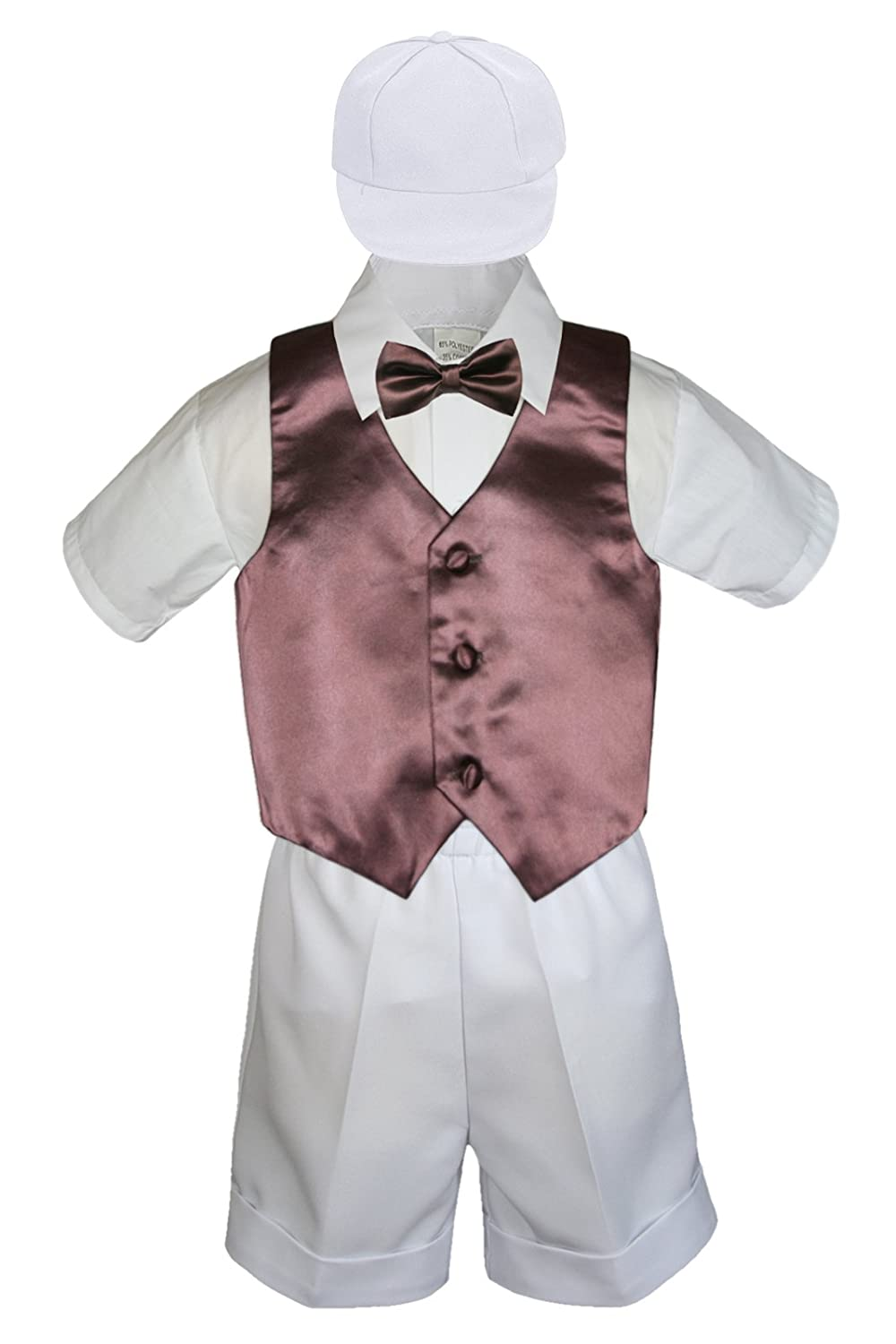 5pc Baby Toddlers Boy Brown Vest Bow Tie Sets White Suits Outfits S-4T (S:(0-6 months))