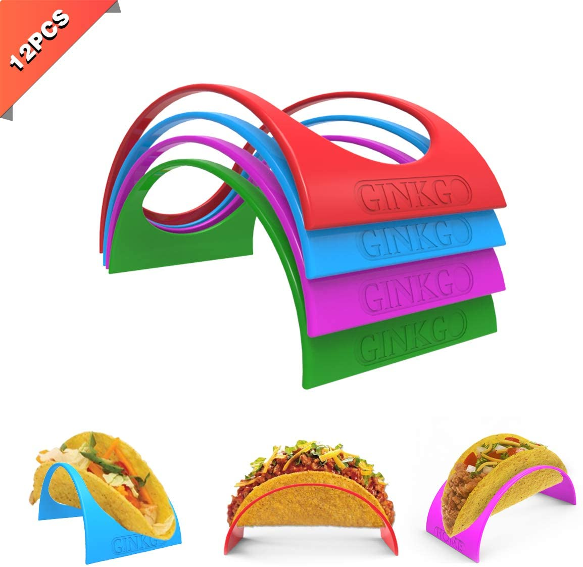 GINKGO Taco Holder Stand up Set of 12, 4 Colorful Plastic Taco Shell Holder Plate Protector Food Holder, Microwave Safe Stands for Soft and Hard Shells