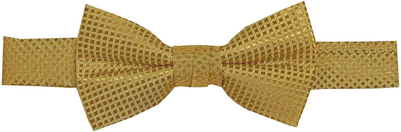 Jacob Alexander Boys' Woven Subtle Mini Squares Adjustable Pre-Tied Banded Bow Tie - Gold