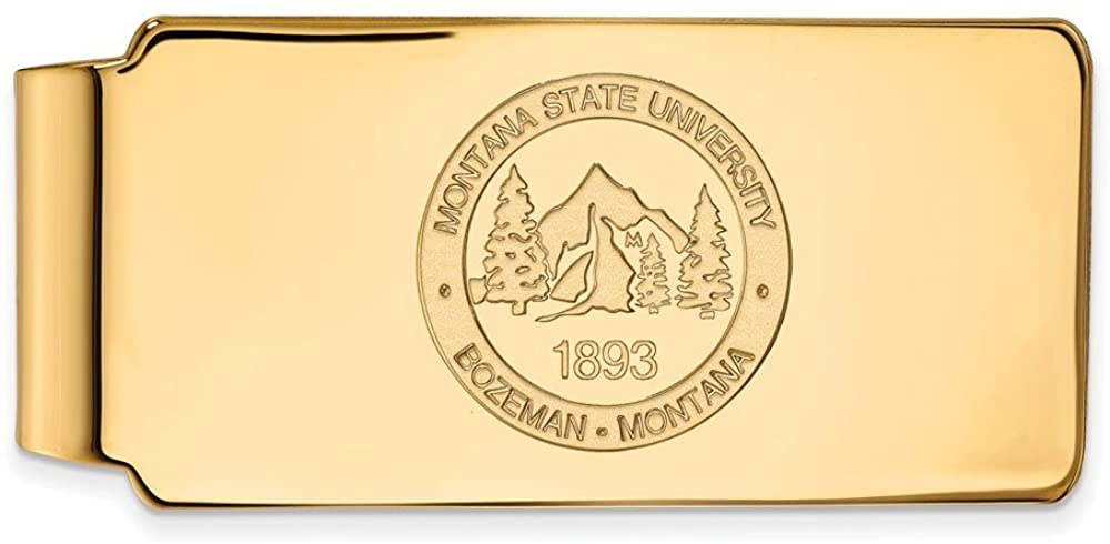 Solid 10k Yellow Gold Official Montana State University Slim Business Credit Card Holder Money Clip Crest - 53mm x 24mm