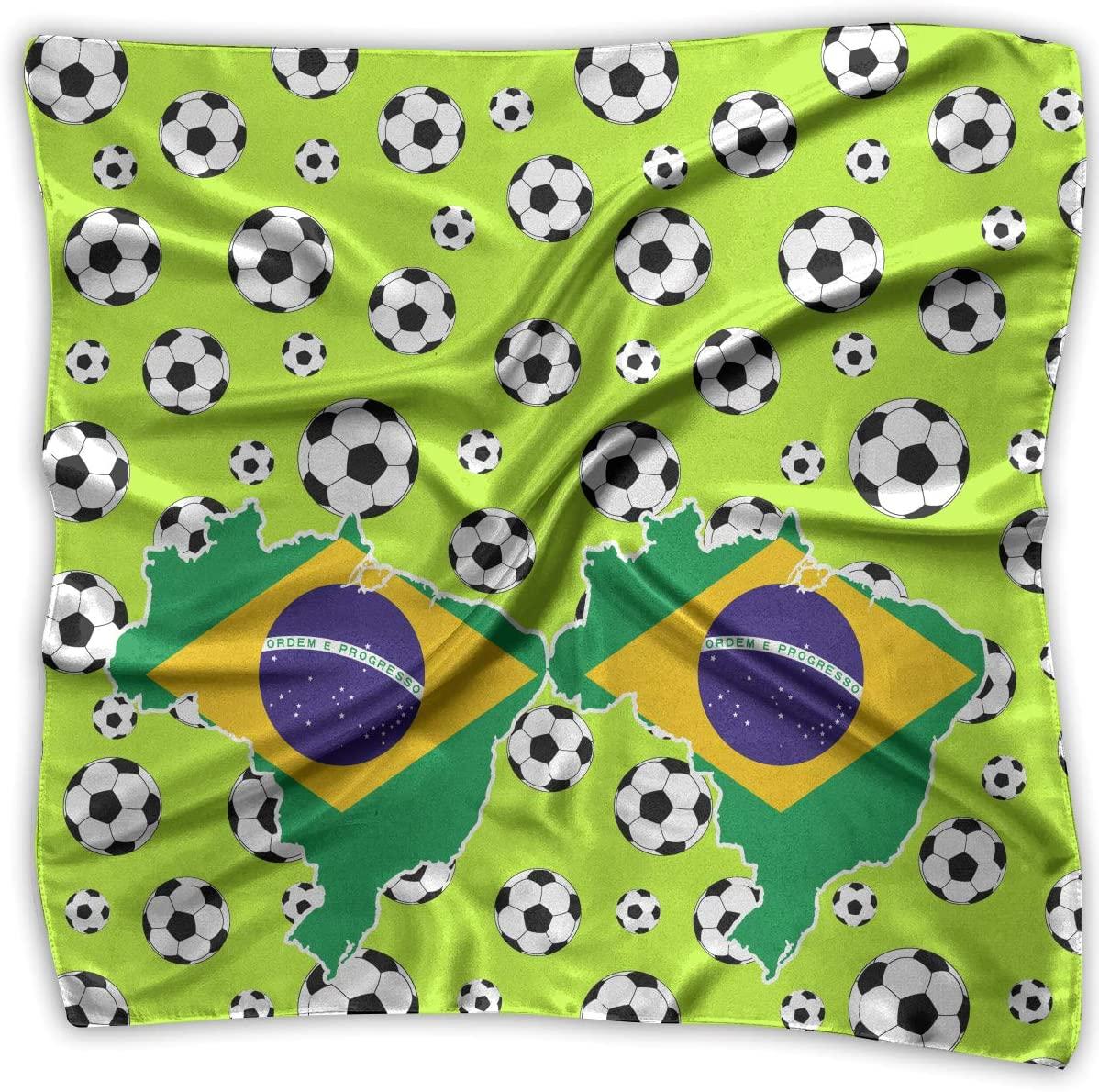 WFIRE Brazilian Flag Square Handkerchiefs Scarf Shawl Bandanas Headscarf Neckerchief Tie Hair Scarf