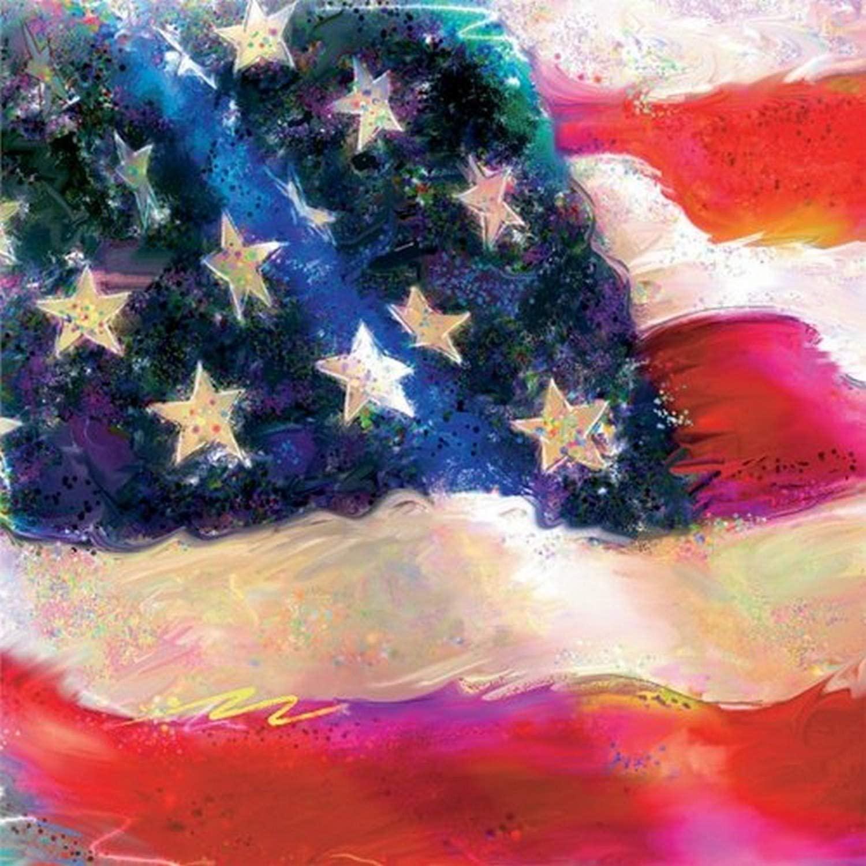 Ideal Home Range 20-Count 3-Ply Paper Cocktail Napkins, Patriotic Flag