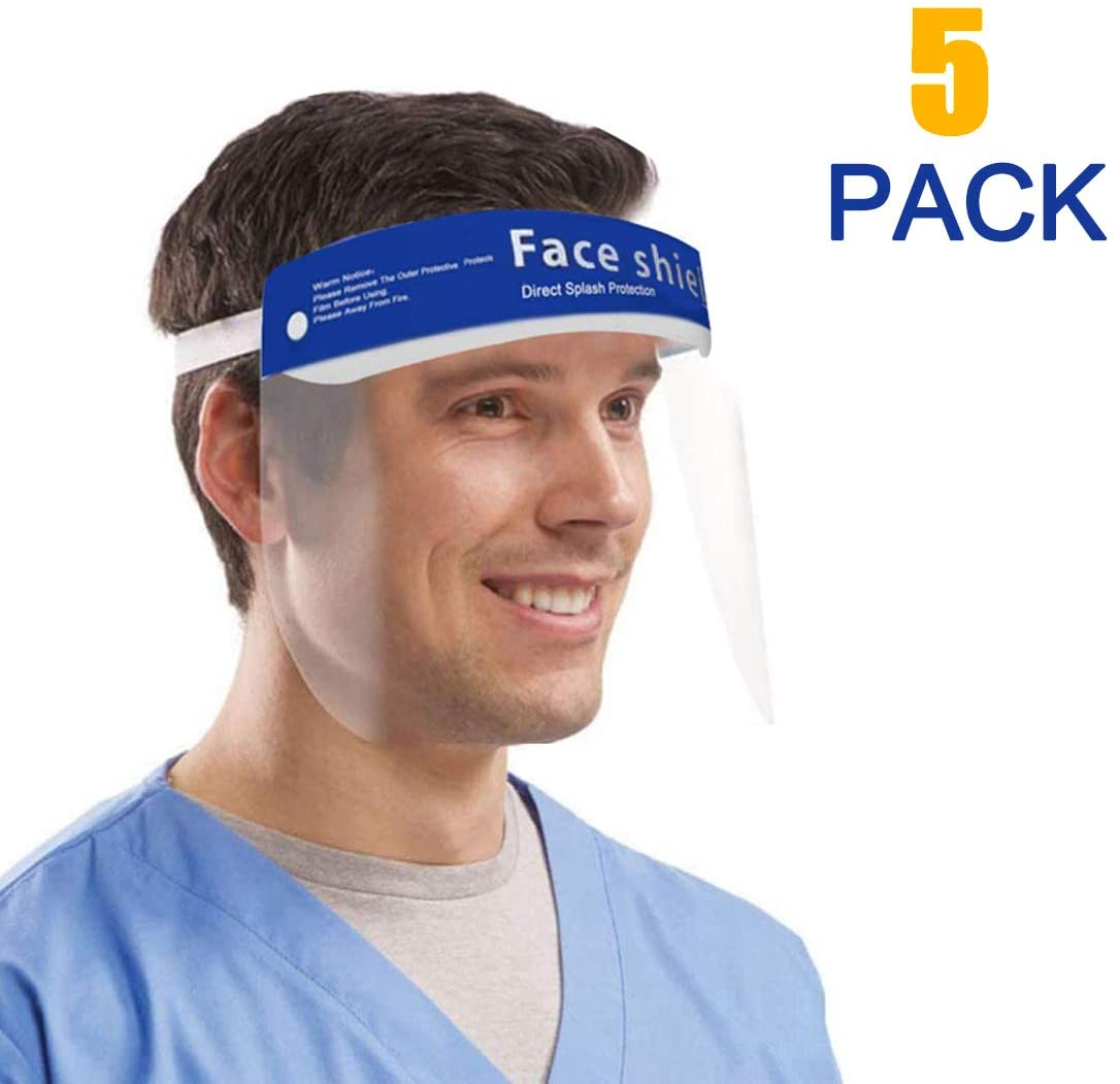 All-Round Protection Cap, with Clear Wide Visor Lightweight Transparent Face Bandanas with Adjustable Elastic Band or Men Women