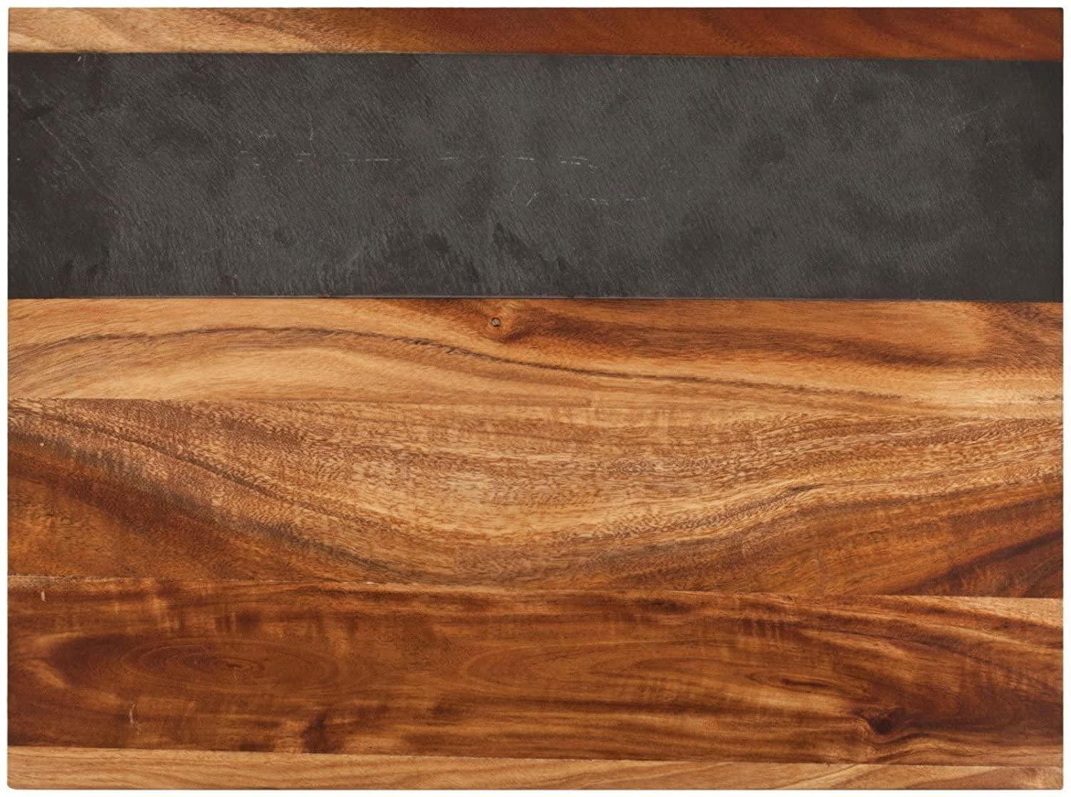 Rustic Farmhouse Acacia Wood and Slate Cheese Board by Twine – (17.7 x 10.2 x 1 in, comes with chalk)