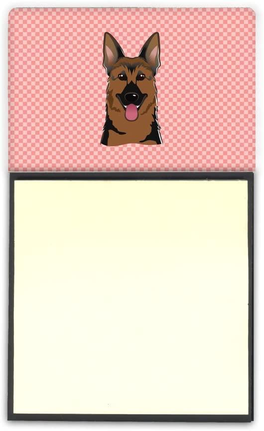 Carolines Treasures BB1211SN Checkerboard Pink German Shepherd Refiillable Sticky Note Holder or Postit Note Dispenser, Large, Multicolor