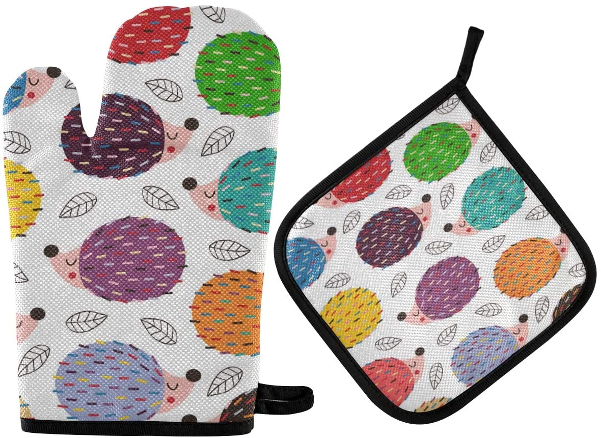 DOMIKING Pot Holders Oven Mitts Sets - Colorful Hedgehogs Hot Gloves Heat Resistant Hot Pads Non-Slip Potholders for Kitchen Baking Cooking Grilling