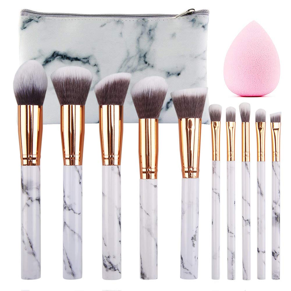 SEPROFE Make Up Brushes 10 Pieces Marble Pattern Professional Makeup Brush Set Kabuki Foundation Blending Concealer Eye Face Liquid Powder Cream Brushes Sets with Cosmetics Bag