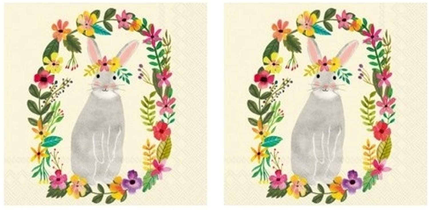 Floral Bunny Easter 3-Ply Paper Luncheon Napkins 40-Count, Boho Garden Rabbit Lunch Serviettes