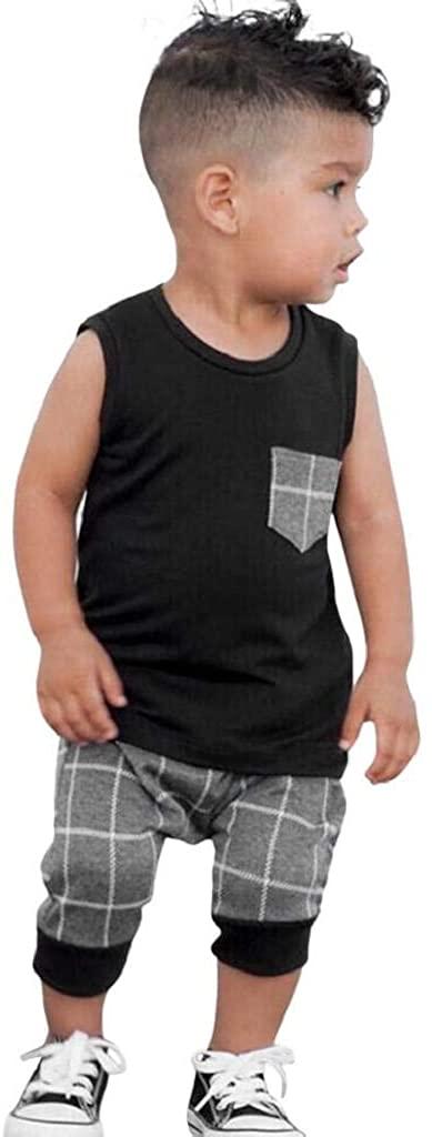 terbklf Stylish Infant Toddler Baby Boys Girls Plaid Crew Neck Sleeveless Tops T Shirt Vest Shorts Outfits Clothes Set