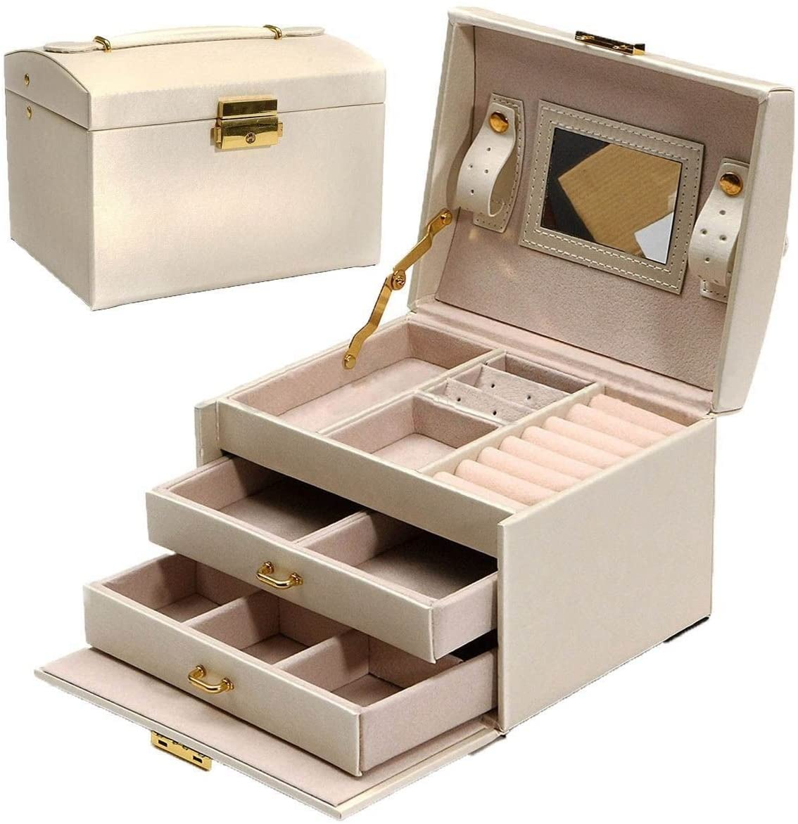 HQLCX Jewelry Packaging & Display Box Armoire Dressing Chest with Clasps Bracelet Ring Organiser Carrying Cases