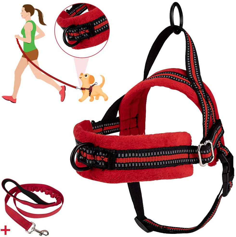 SlowTon No Pull Small Dog Harness and Leash, Front Lead Walk Vest Harness Soft Padded Reflective Adjustable Puppy Harness Anti-Twist 4FT Pet Lead Quick Fit for Small Dog Cat Animal