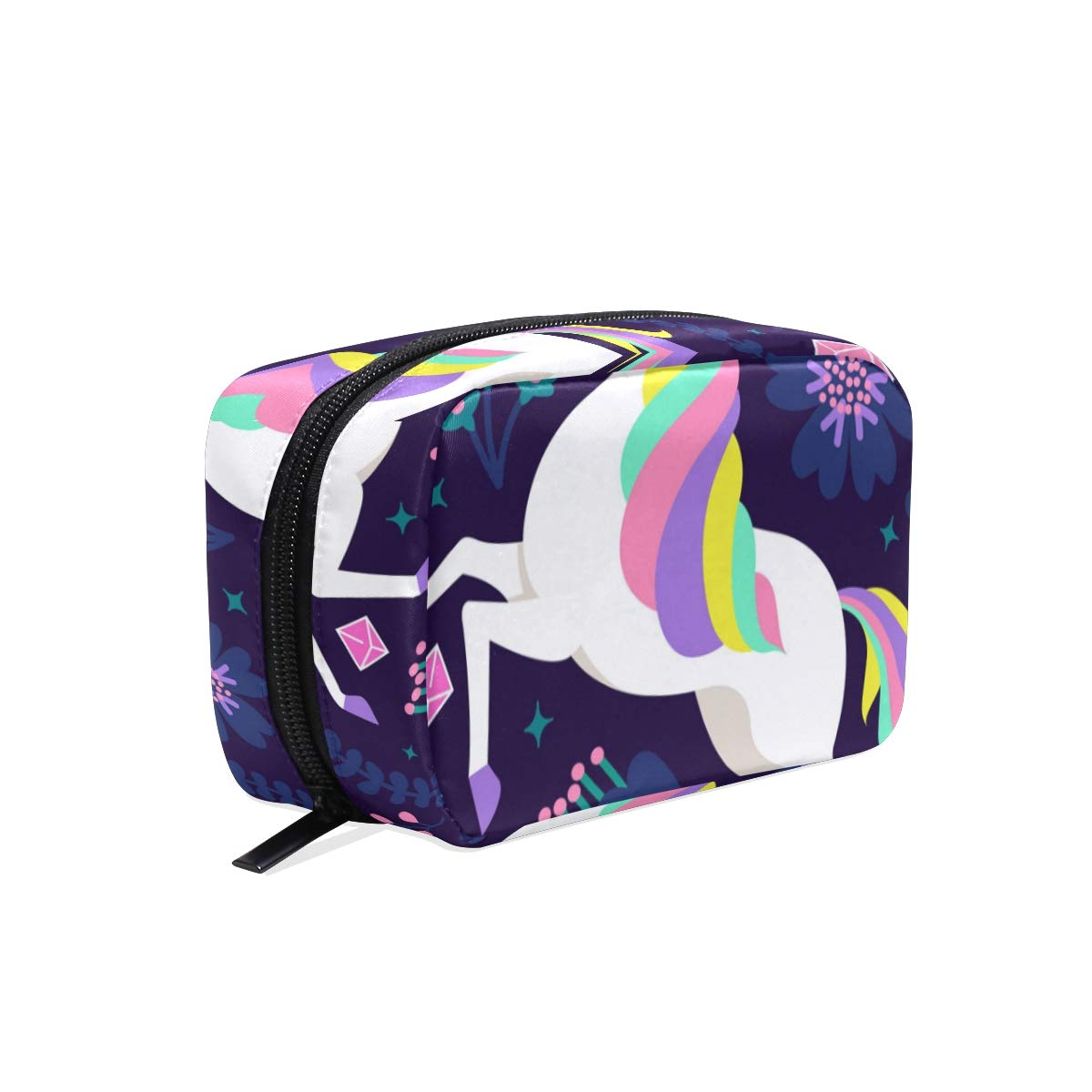 ILEEY Flat Unicorn With Psicodelic Colors Cosmetic Pouch Clutch Makeup Bag Travel Organizer Case Toiletry Pouch for Women