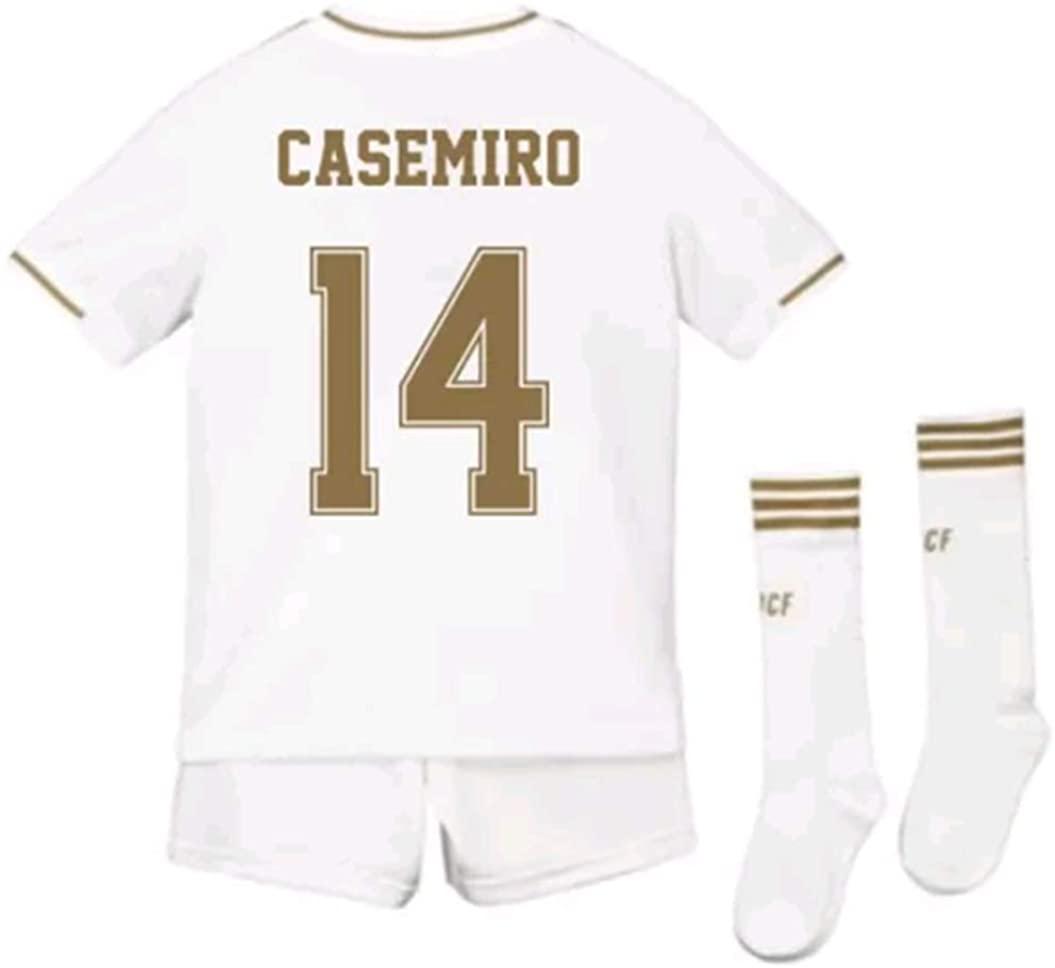 LISIMKEM Casemiro #14 2019-2020 Kids/Youths Home Soccer Jersey/Short/Socks Colour White
