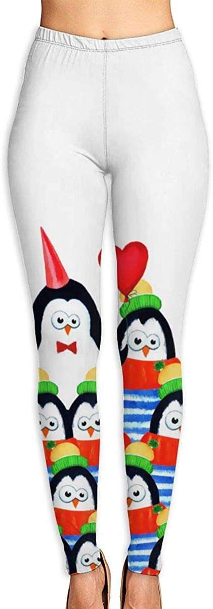 Girl Yoga Pants Leggings Penguins in A Row Running Workout Power Stretch Long Trousers Athletic Gym