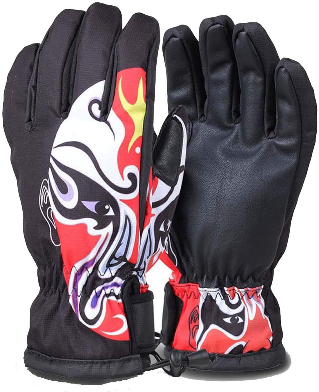 YR5V4V Women Children Waterproof Ski Gloves Motorcycle Cycling Windproof Snowboard Handwear Fleece Thermal Skiing Gloves,B,L