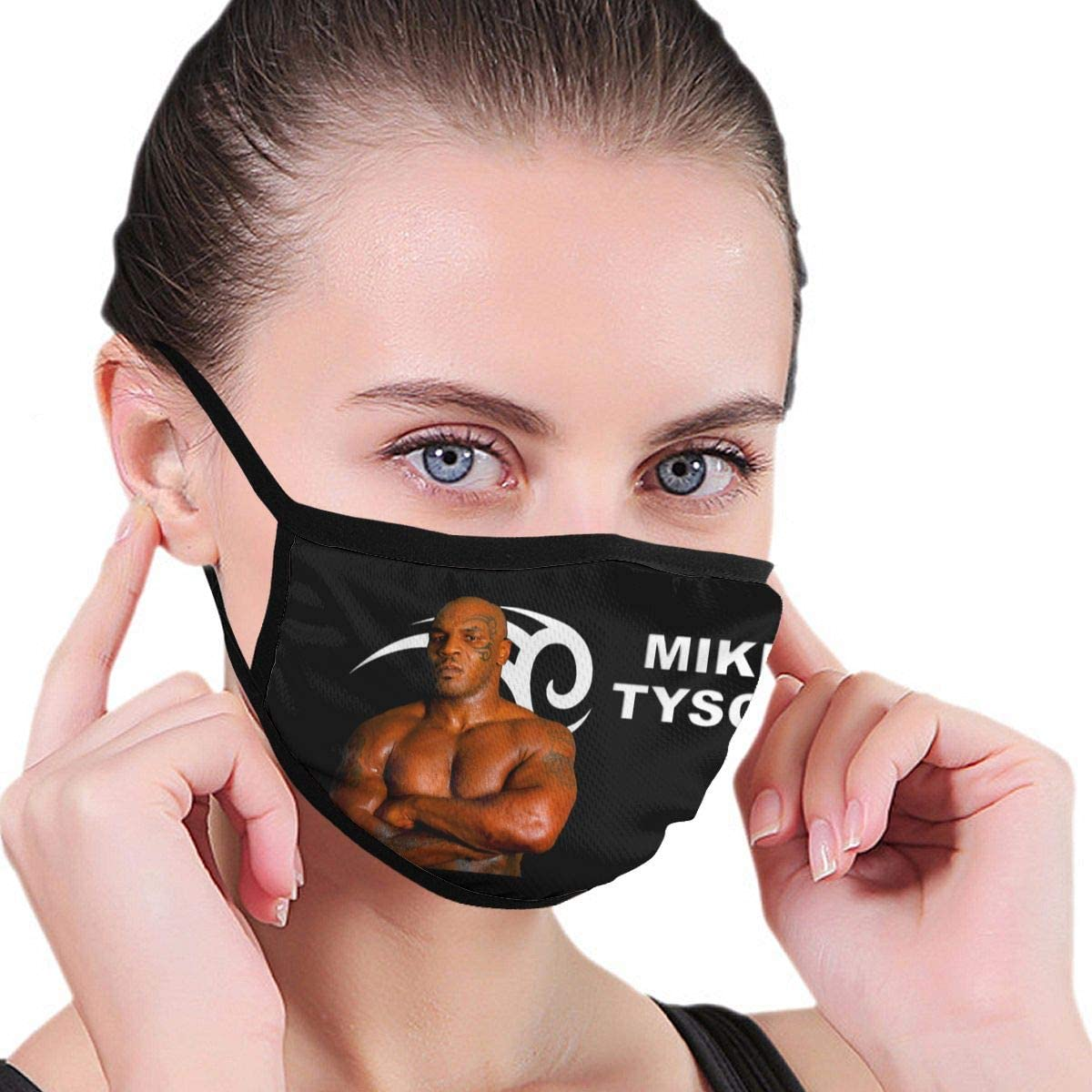 Qwtykeertyi Mike Tyson Fashion Protective Reusable Unisex Black Cotton Washable Balaclava