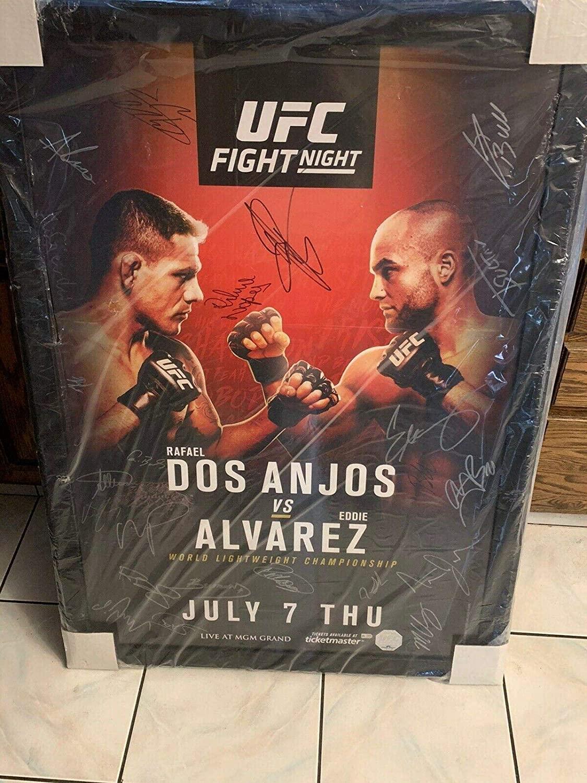 UFC Fight Night 90 Autographed Signed 27x39 Poster Entire Fight Card Alvarez - Autographed UFC Event Poster