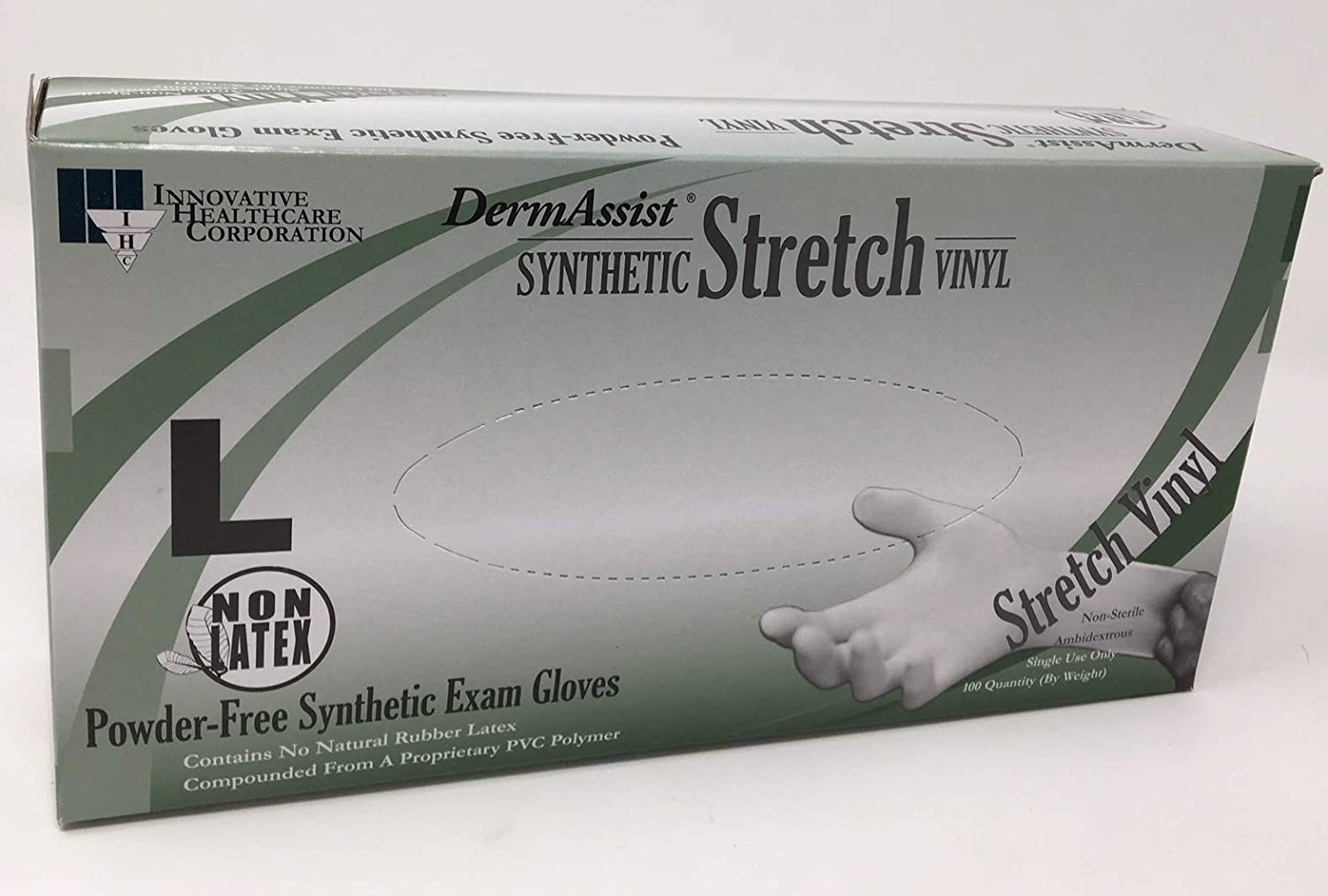 DermAssist Synthetic Stretch Vinyl Gloves - Size: Large (Box of 100) Powder-Free Exam Gloves #162300