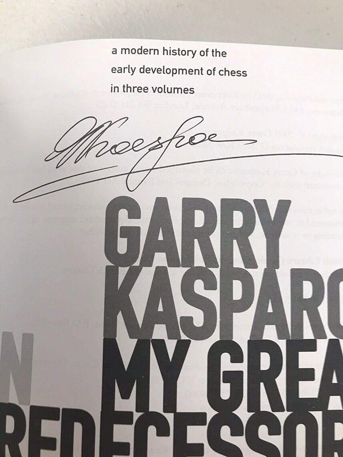 Garry Kasparov Signed Book My Predecessors Part 1 Chess Champion Autograph - JSA Certified - Autographed Sports Magazines